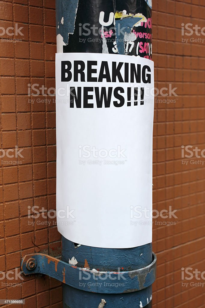 Street Poster Breaking News royalty-free stock photo