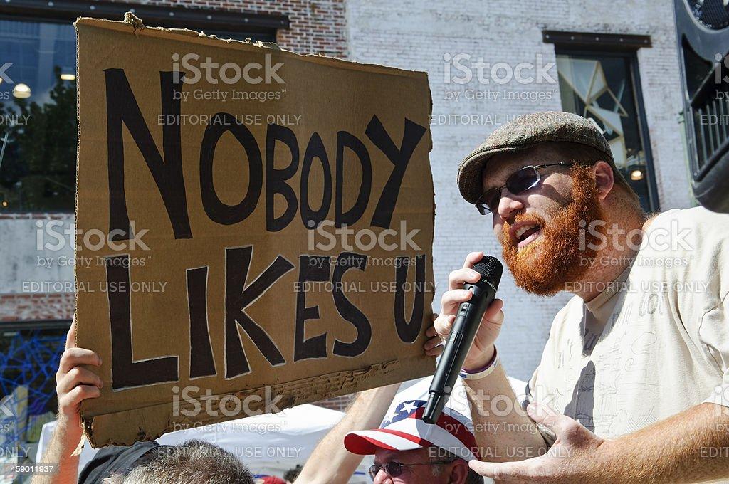 Street preacher and tough crowd stock photo