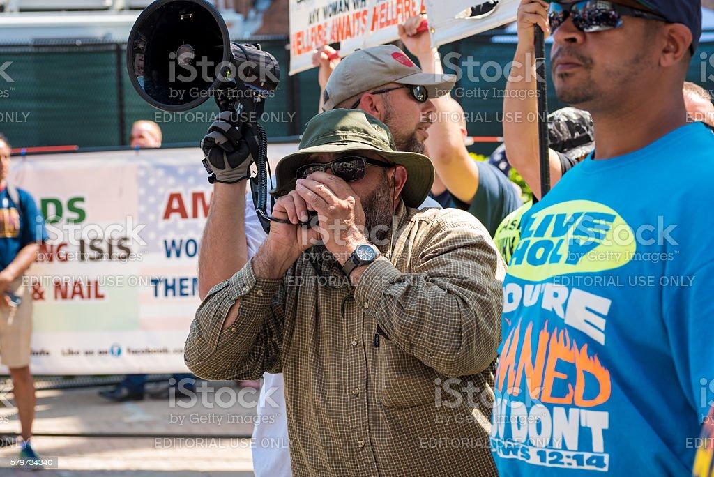 Street preacher stock photo