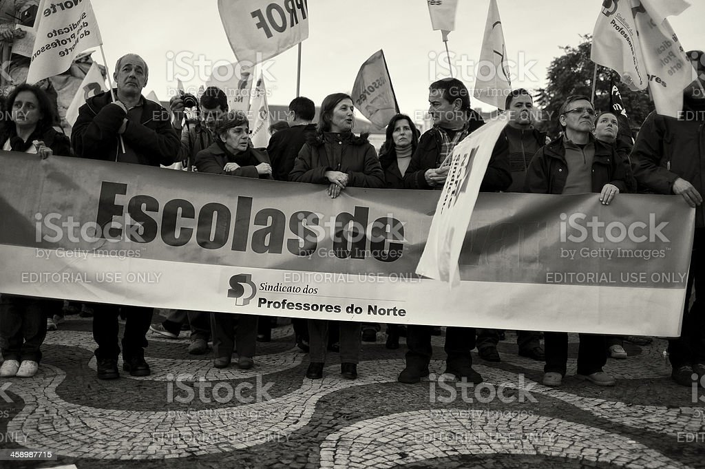 Street Protest in Lisbon royalty-free stock photo