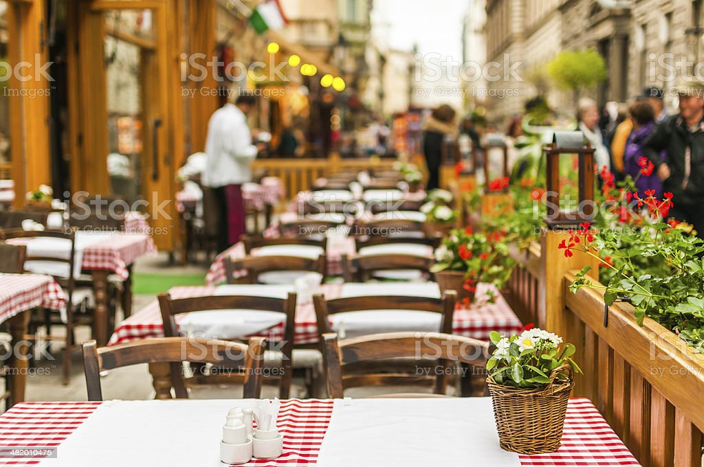 Street restaurant in Budapest, Hungary stock photo