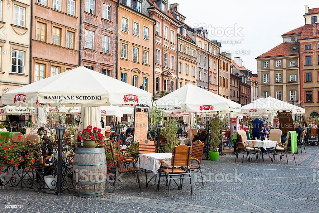Street Restaurant in Old Town Warsaw, Poland stock photo