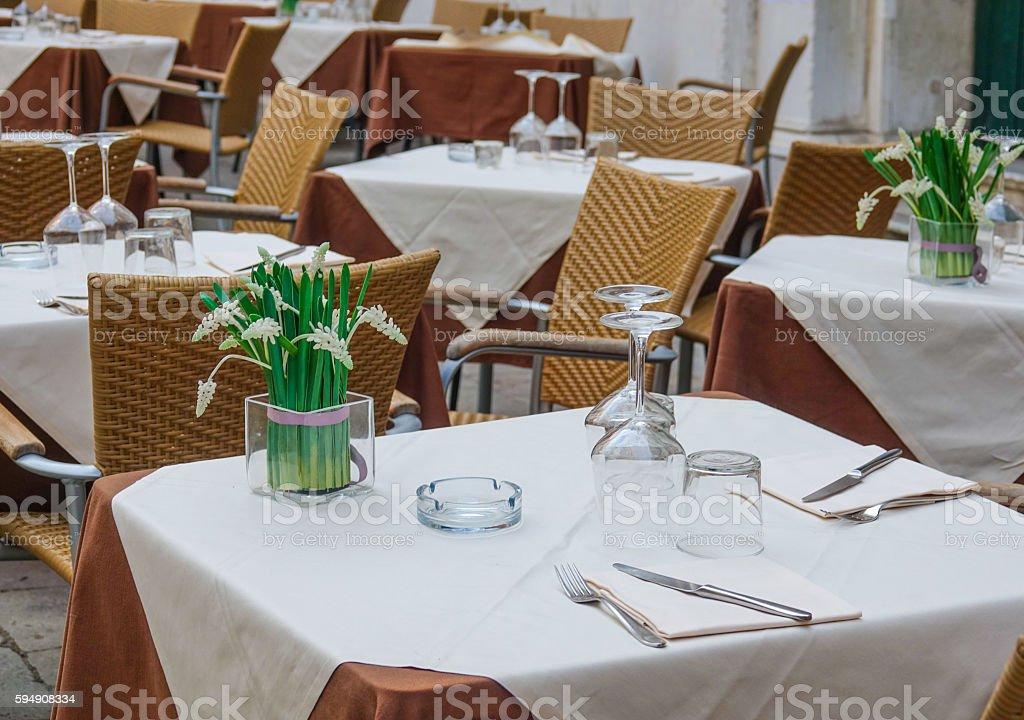 Street restaurant in the historic center of Venice Lizenzfreies stock-foto
