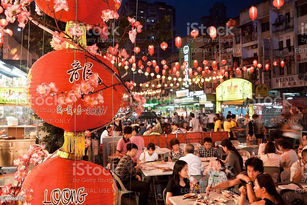 Street restaurant Jalan Alor in heart of Kuala Lumpur stock photo