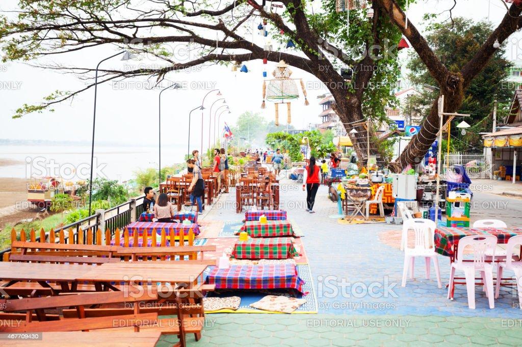 Street restaurants at Mekong river in Vientiane stock photo