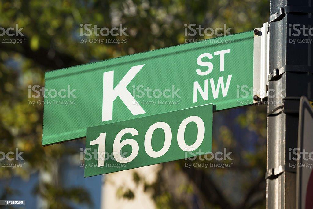 K Street road sign stock photo