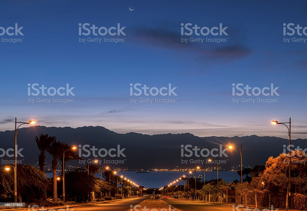 Street running to the Red Sea in Eilat stock photo