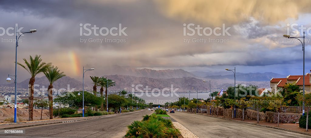 Street running to the Red Sea stock photo