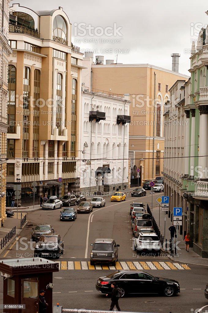 Street Sadovnicheskaya. On the street moving cars and pedestrian stock photo
