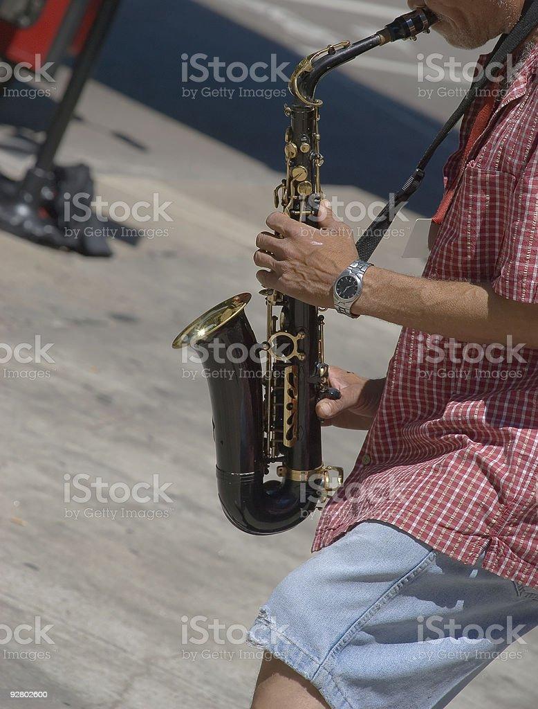 Street Saxophone Player stock photo