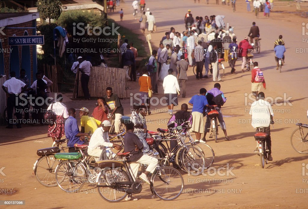 Street scene at Kabale town, Uganda stock photo