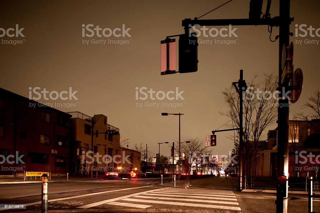 Street scene at night stock photo