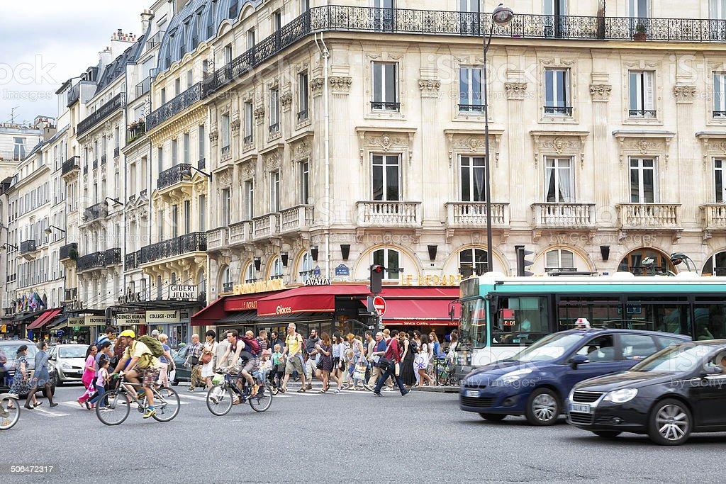 Street Scene at St Michel Place, St-Germain-des-Pres, Paris, France stock photo
