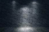 Street scene, brick wall background, dark