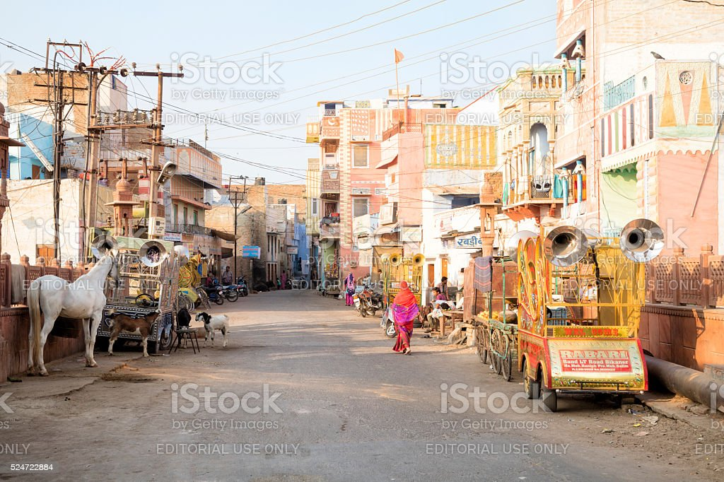 Street scene in Bikaner, Rajasthan, India stock photo