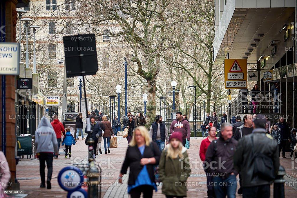 Street scene in Birmingham city center stock photo