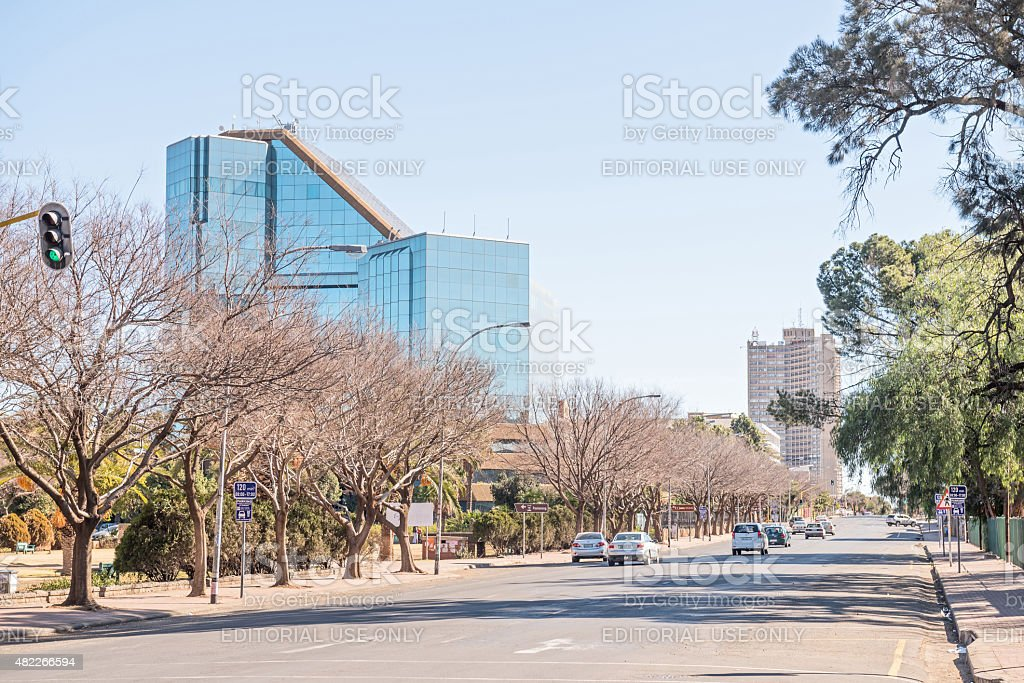 Street scene in Bloemfontein with the statue of Nelson Mandela stock photo
