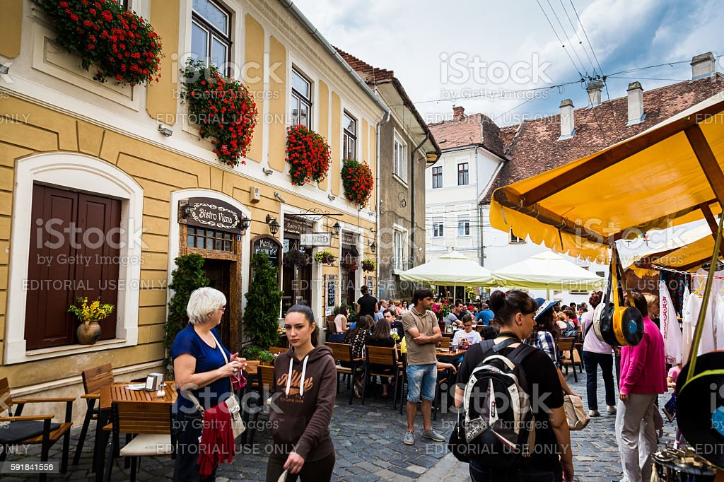 Street scene in Cluj-Napoca, Transylvania, Romania stock photo