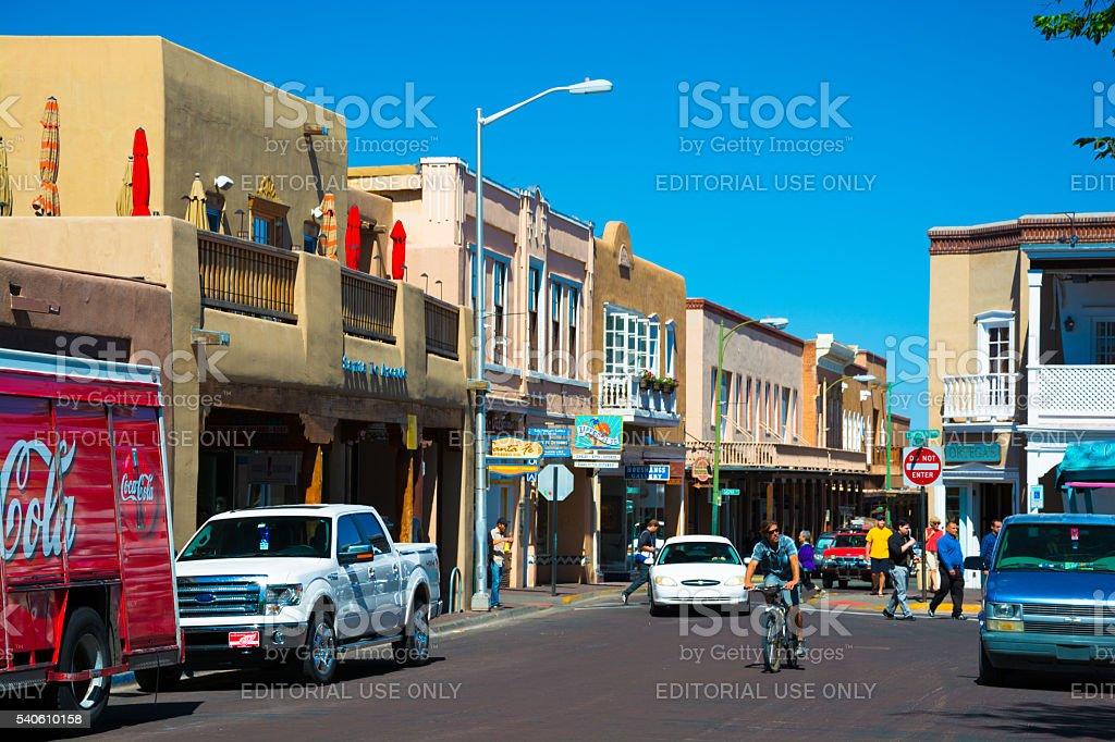 Street Scene in Downtown Santa Fe stock photo