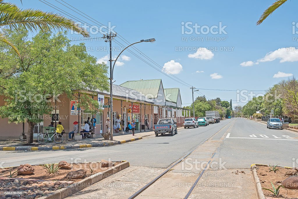 Street scene in Fauresmith stock photo