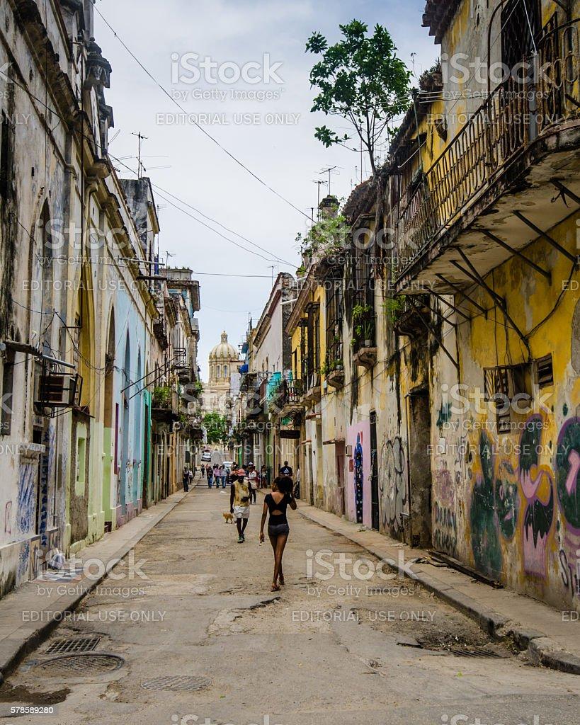 Street scene in Havana, Cuba stock photo