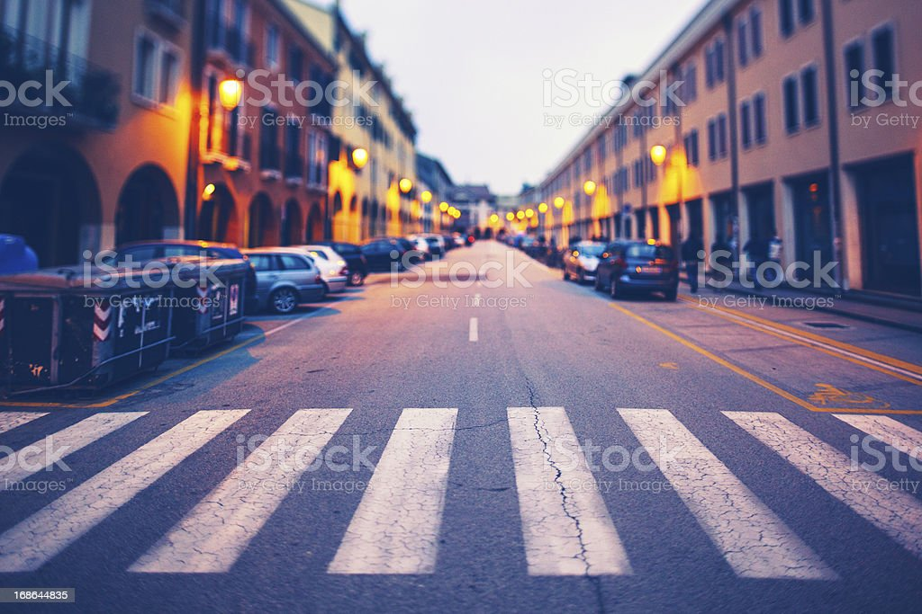 Street Scene in Italy at Twilight stock photo