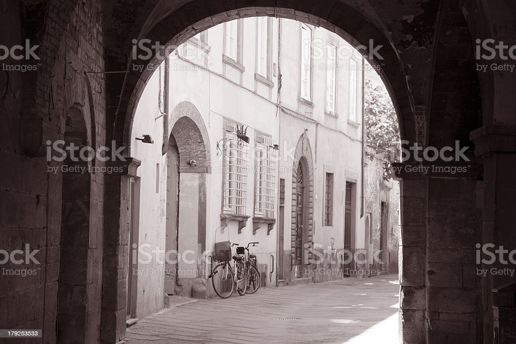 Street Scene in Lucca with Bicycle stock photo