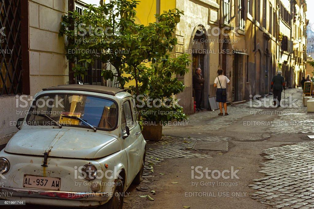 Street Scene in neighborhood in Rome, Italy stock photo