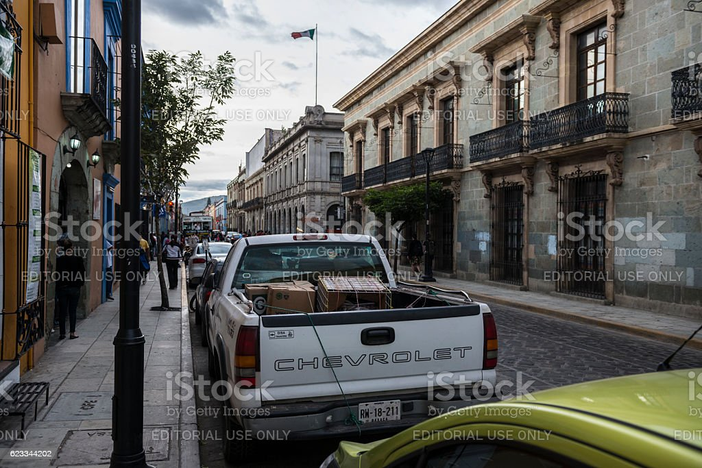 Street scene in Oaxaca, Mexico stock photo
