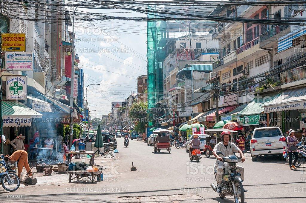 Street Scene In Phnom Penh, Cambodia royalty-free stock photo
