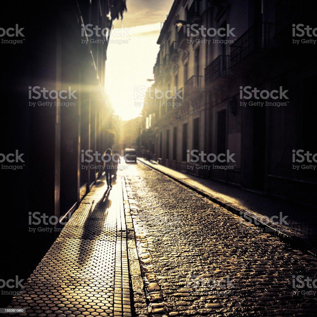 Street Scene in Sevilla at Sunset royalty-free stock photo