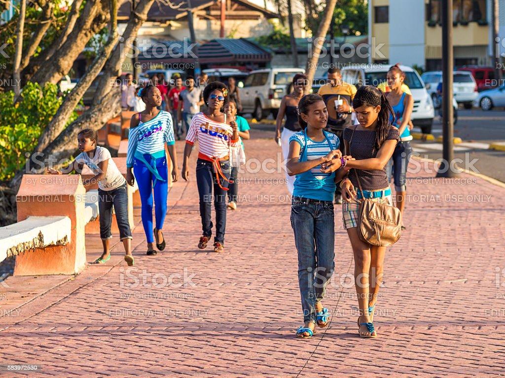 Street scene in Sosua, Dominican Republic stock photo