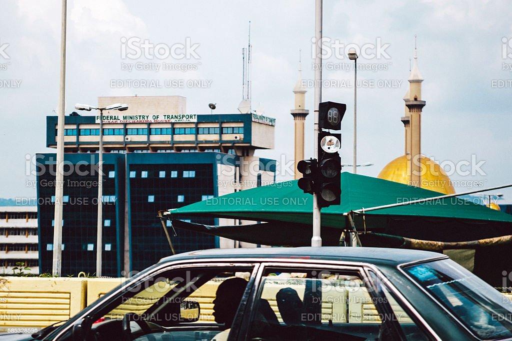 Street scene in the centre of Abuja, Nigeria. stock photo