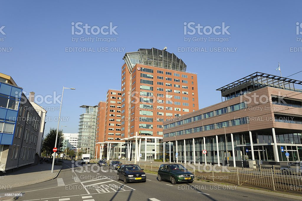 Street scene in Utrecht with office buildings stock photo