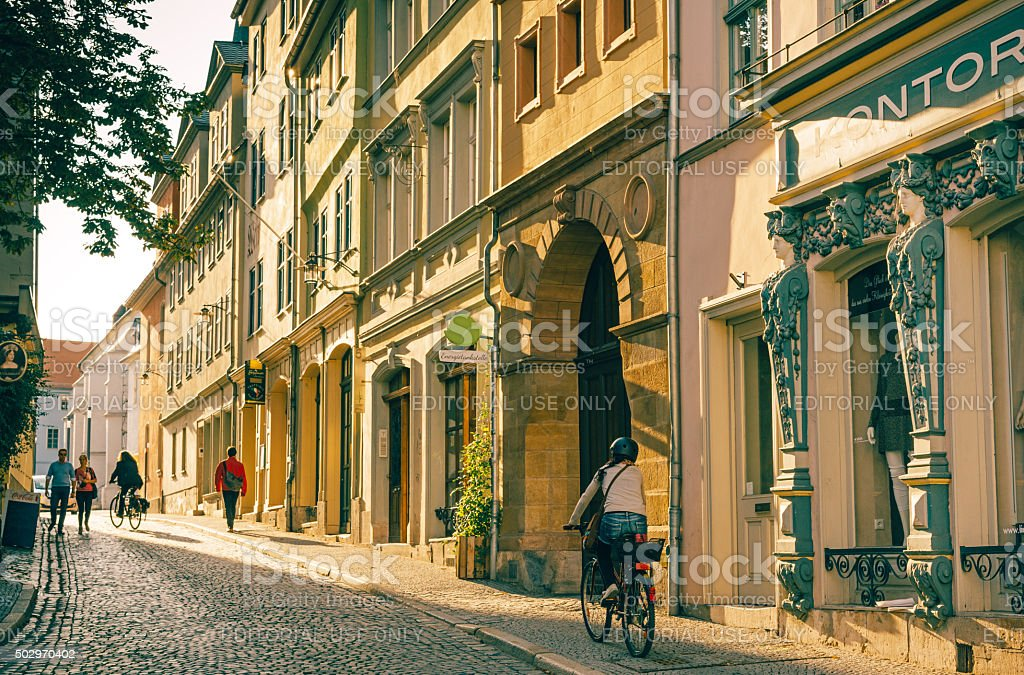 Street Scene in Weimar, Germany stock photo
