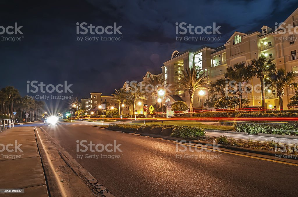 street scene near hotels in destin florida at night royalty-free stock photo