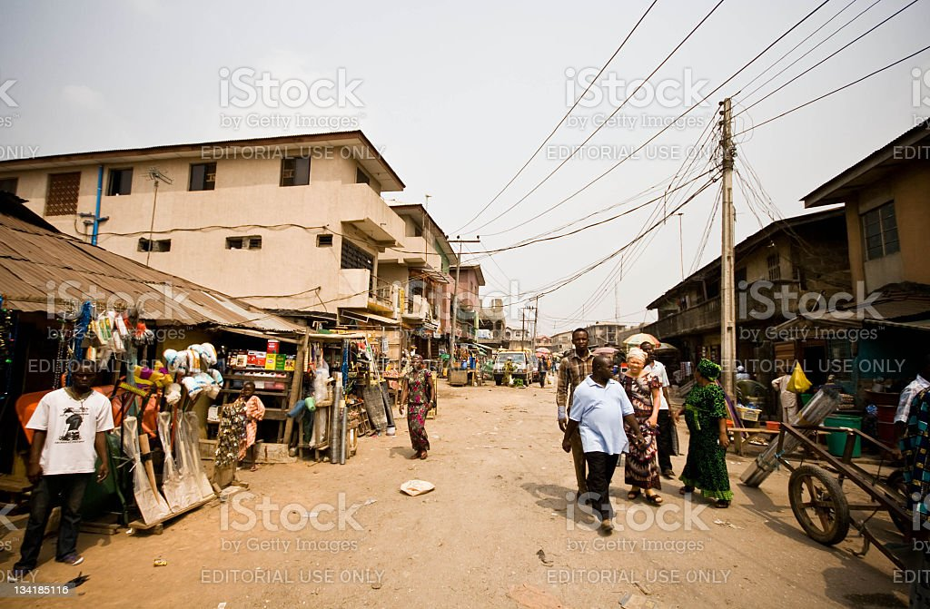 Street scene near the market in Lagos stock photo