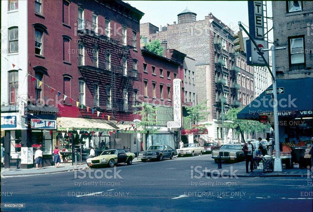 Street scene, New York City, 1978 stock photo