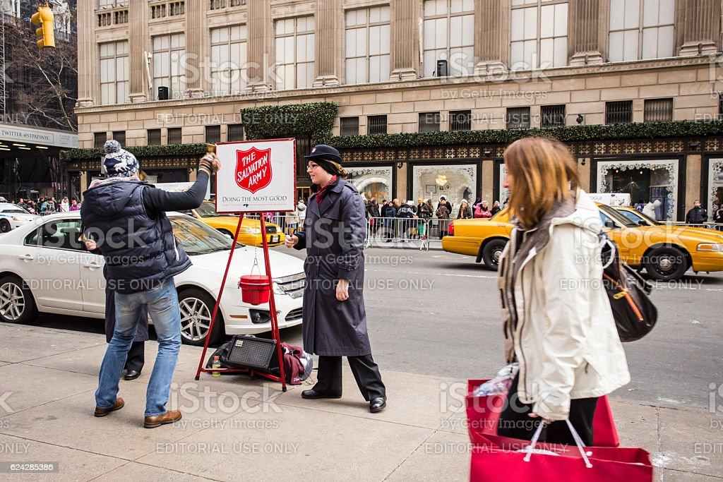 Street Scene NYC Salvation Army Christmas stock photo