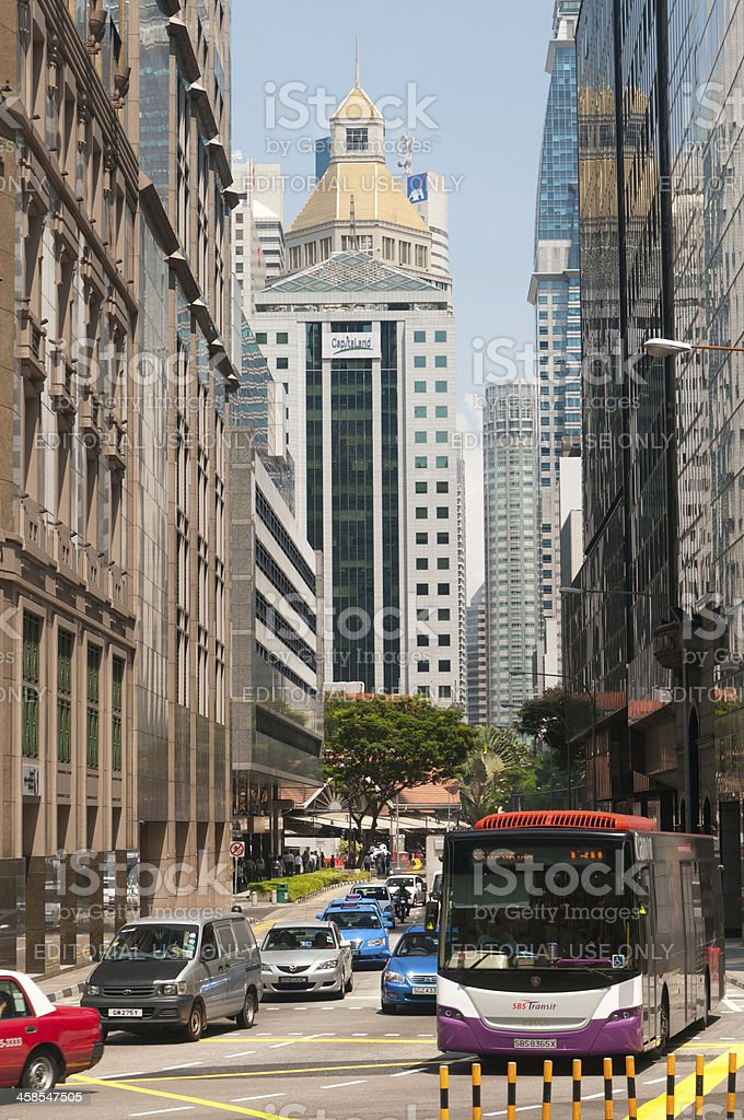 Street Scene of Business District royalty-free stock photo