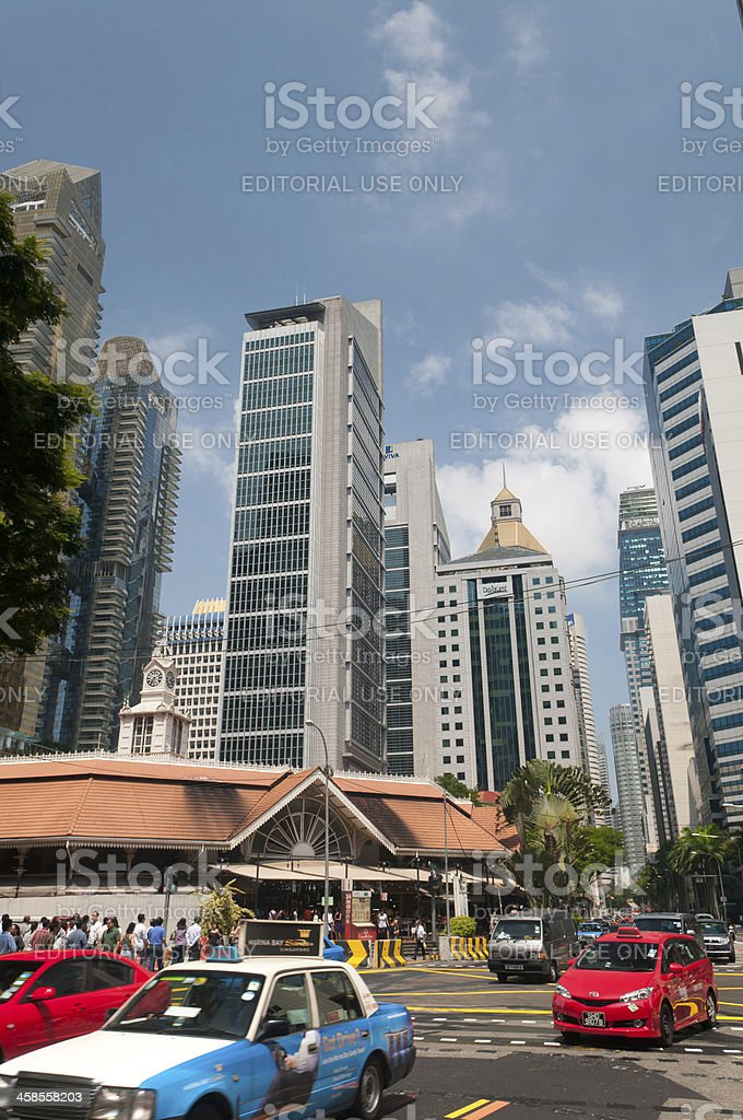 Street Scene of Business District stock photo