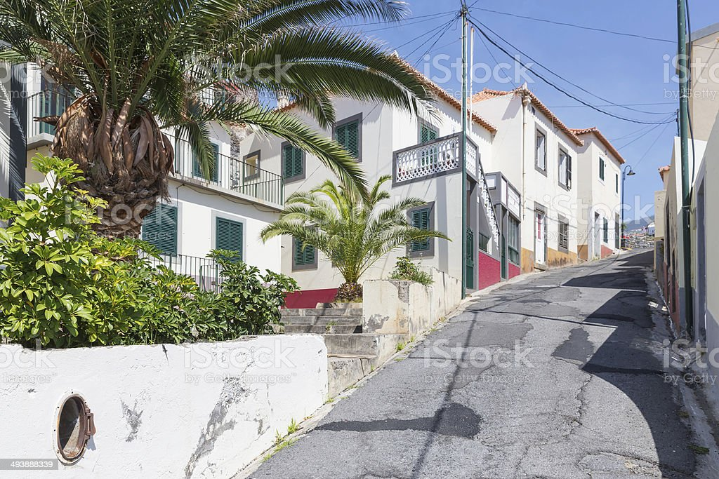 Street scene of Camara do Lobos at Madeira Island, Portugal stock photo