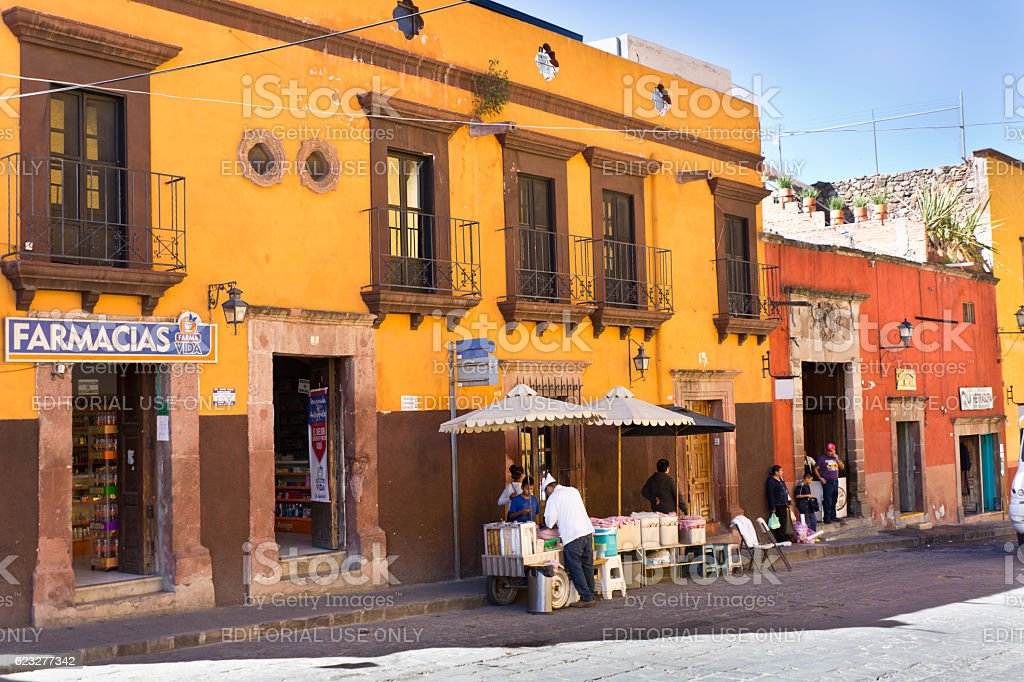 Street Scene of San Miguel de Allende, Guanajuato, Mexico stock photo