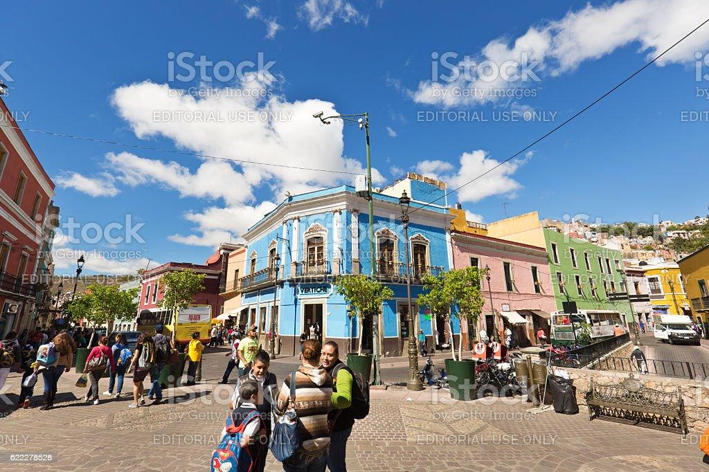 Street Scene of the City of Guanajuato Mexico stock photo
