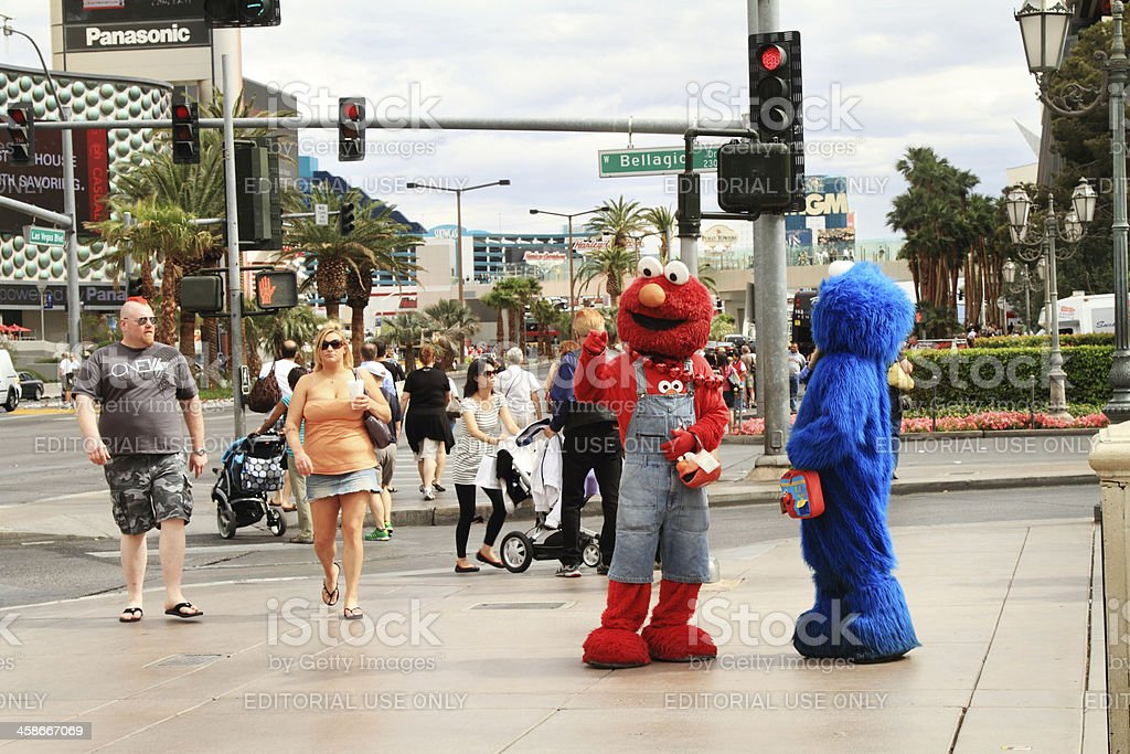 Street scene on Strip in Vegas with Muppets and Mohawk stock photo