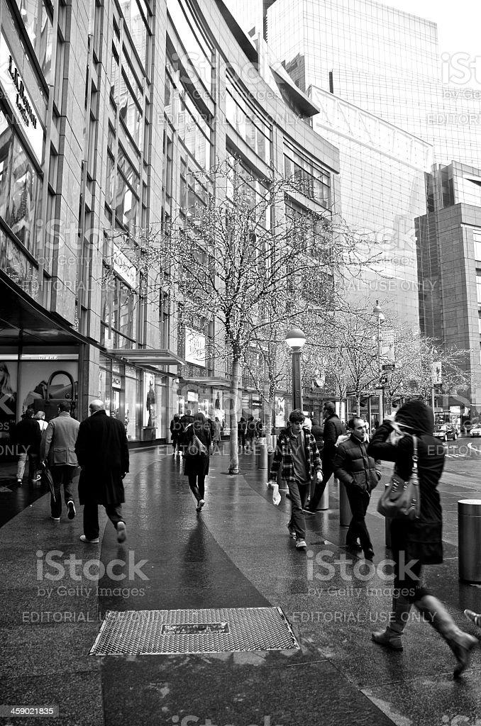 NYC Street Scene, pedestrians at Columbus Circle, Manhattan royalty-free stock photo