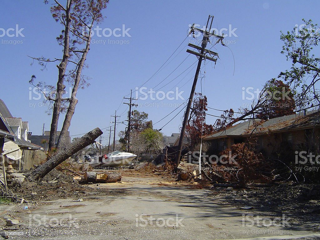 Street scene post-Katrina stock photo