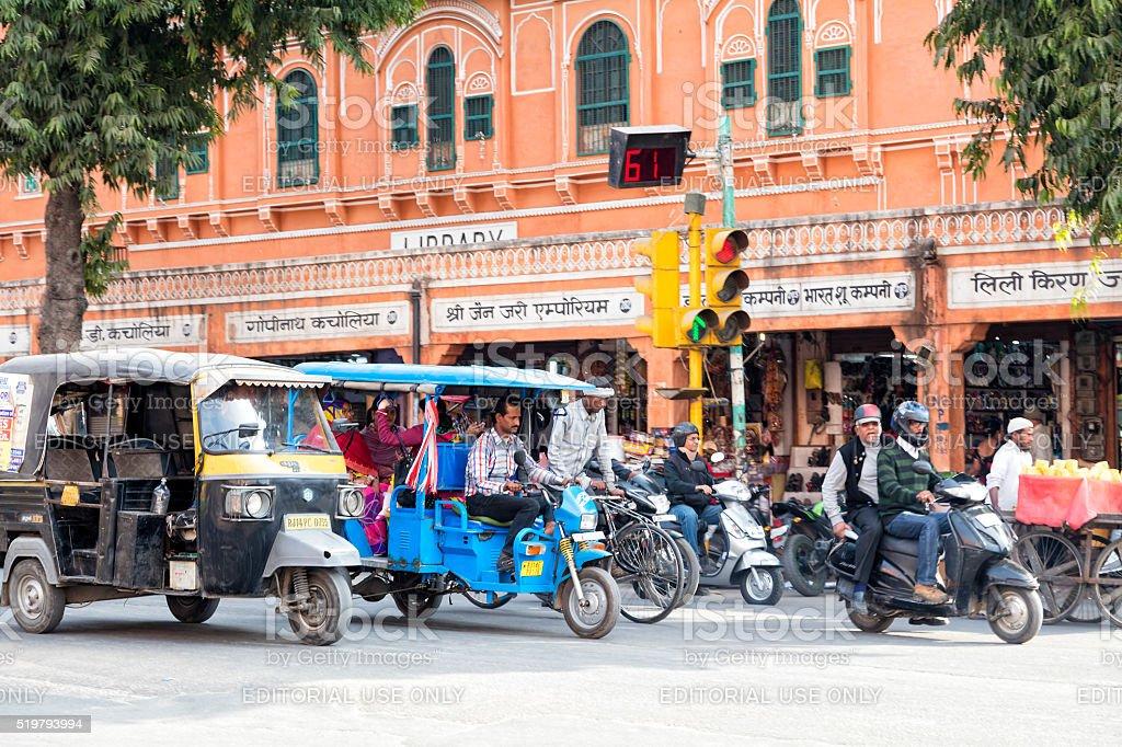 Street Scene With Motorcycles, Rickshaws, Jaipur, India stock photo