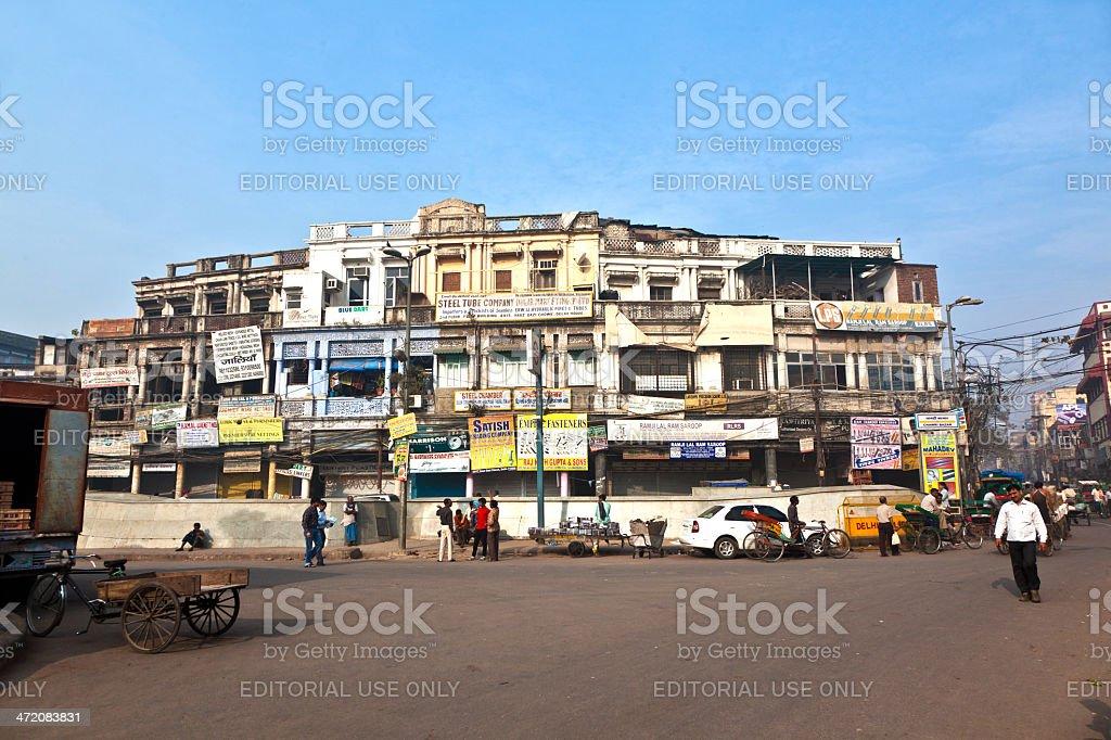 street scene with people at Chawri Bazar stock photo