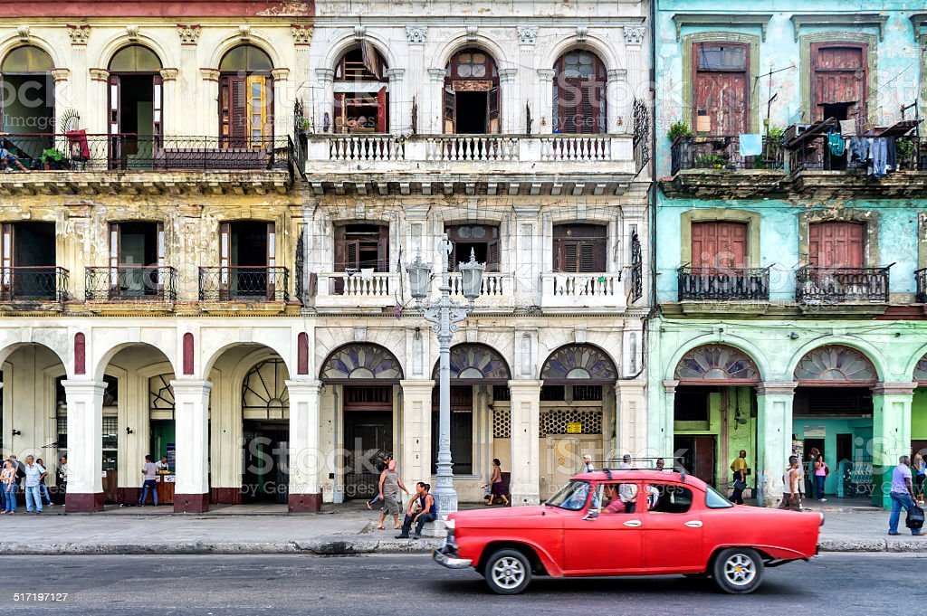 Street scene with vintage car in Havana, Cuba. stock photo